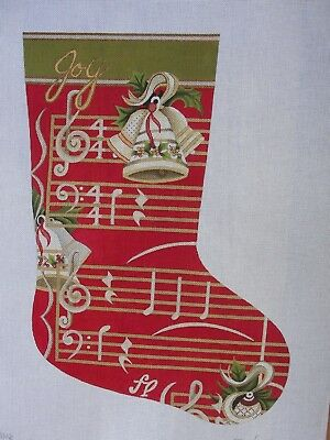 Joy Musical Hand Painted Needlepoint Holiday Stocking S Roberts J Gaynor JG101