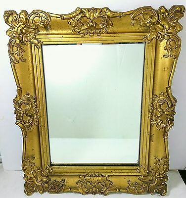 Beautiful Ornate Antique Vintage Gold Painted Wood & Gesso Wall Mirror