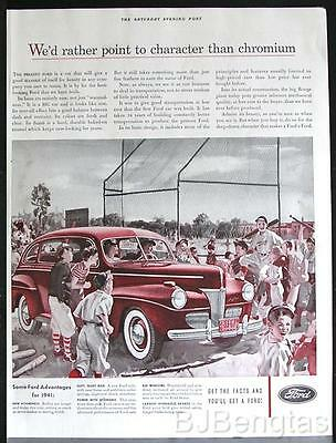 1941 Ford Motor Car Little League Baseball Original Vintage Ad