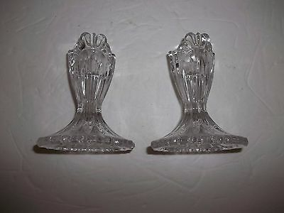 "Vintage Crystal Candlestick Candle Holders 3.75"" Vertical Scroll Deco Style"