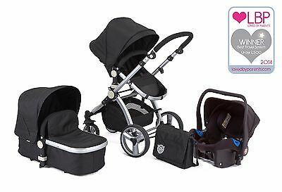 Black Carrera Sport 3-In-1 Travel System/pushchair/pram/baby & Isofix Car Seat