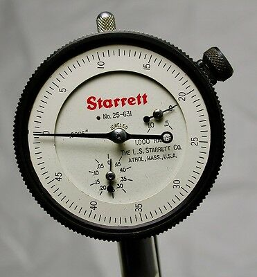 Vintage STARRETT (Athol, Mass.) No. 25-631J Dial Indicator / $4.50 to Ship / NR