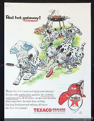 1956 Texaco Chef Hat Dalmation Puppies Hot Dog Outdoor Cookout Keith Ward Art Ad