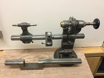 VINTAGE GENEVA PATTERN WATCHMAKERS 8mm LATHE WITH 2 LATHE BED'S