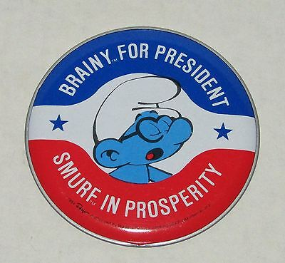 Brainy Smurf For President 1984 Post Cereal Smurfs Promo Sticker Button