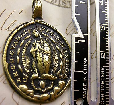 Antique Sacred Heart of Jesus &  Immaculate Heart Guadalupe Mexico Shrine Medal