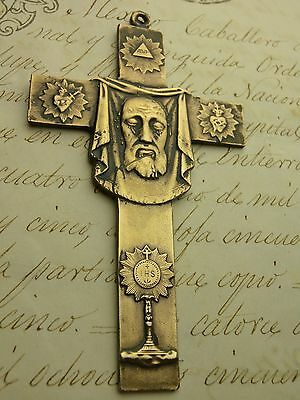 SUPERB! Spanish Colonial Miraculous Holy Face of Jesus Vatican Pilgrimage Cross
