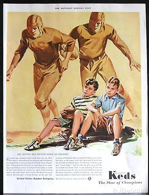 1941 Keds Football Shoes Player Leather Helmet Dream Alan Hughes Art Vintage Ad