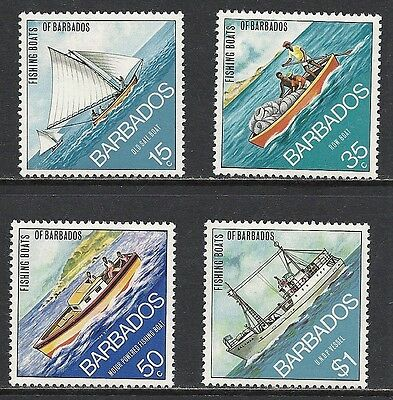 Barbados Scott 392 - 395 Mxlh Set - 1974 Fishing Boats Of Barbados Issue
