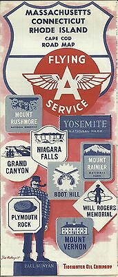 Flying A Service Vintage 1958 Massachusetts / Connecticut / Rhode Island Map