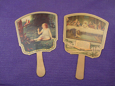 2 Vintage Advertising Fans Little Girl & Birds The Last Supper Mo. Iowa Funeral