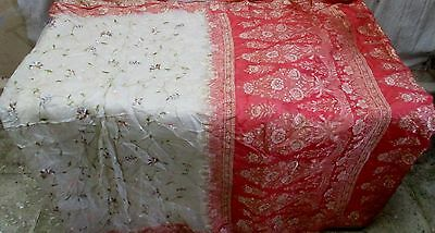 Pure silk Antique Vintage Sari HUCE LOT 4y Xu 15d9 Bd Cream Peach DECOR #ABD9Q