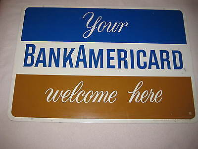 "Vintage BankAmericard 23"" x 16"" Double Sided Metal Sign Visa"