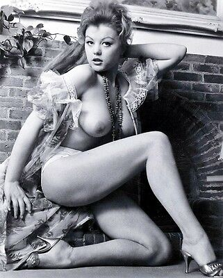 1960s Margaret Nolan Pinup Model Huge Breasts at Fireplace 8 x 10 Photograph