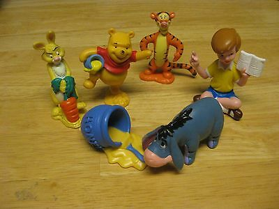 Lot of 6 Winnie The Pooh Toys Cake Toppers Figures Tigger Rabbit Eeyore Chris
