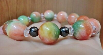 Elegant 12mm Tri Color Jade Beads & 4mm White Crystal Beads Bracelet 7 inches