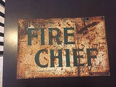 Fire Chief Sign.   Double Sided.   vintage      Rare Sign