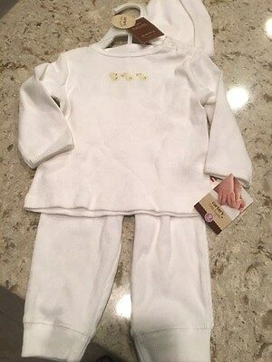 NWT CARTER'S Little Layette 3 PC. White Ribbed Shirt With Ducks Pants Hat Set 9M