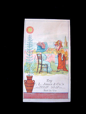Victorian Trade Card=TULIP SOAP=Kate Greenaway? Hat-Bonnet ladies in Garden