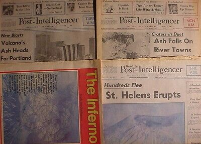 St. Helens Eruption Historical Articles Post-Intelligencer x4 1980 Newspapers
