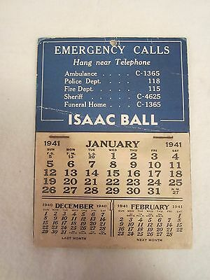 Vintage Terre Haute, Ind. Isaac Ball Funeral Home 1941 Advertising Calendar