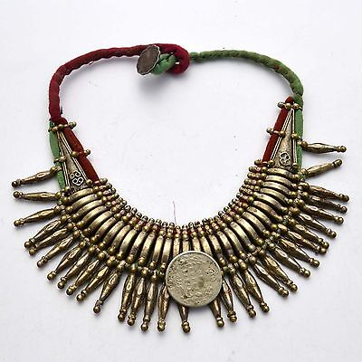 UNS22A Antique Vintage Old Tharu Tribal Ethnic Spike Alloy Silver Necklace Nepal