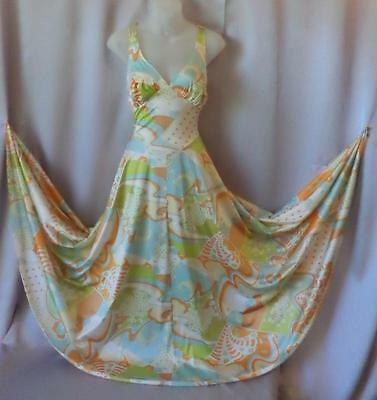 SWEEPING NYLON PRINT Vanity Fair Vintage 1950s 60s  NEGLIGEE NIGHTGOWN -sz 36