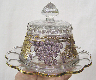 Vintage Clear Glass Grape & Cable Butter Dish Purple Grapes Gold Leaves Cable