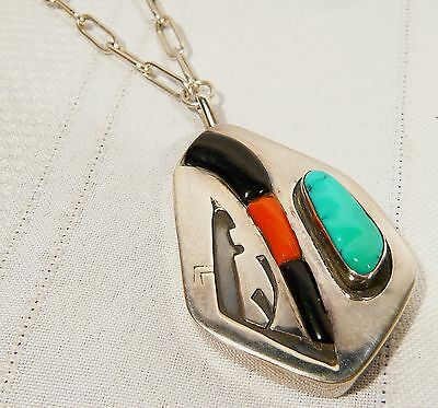 "NAVAJO Signed LL Silver PENDANT 17"" NECKLACE  Turquoise Onyx Coral 37.9 gr"