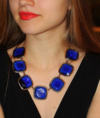 "Kate Spade New York RARE huge cobalt blue baubles  ""Big Time"" Necklace royal"