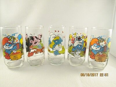 Set of 5 Peyo 1983 Smurf Glasses - Smurfette, Handy, Gargamel & Papa Smurf