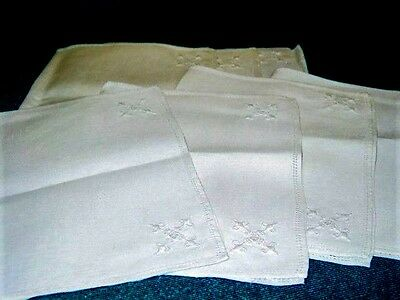 "Vtg.Linen Placemats Madeira 7pc 10 1/2 x 17""Lt.EcruHemstitched w/NeedlwkDesigns"