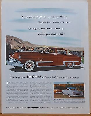 Vintage 1950's magazine ad for DeSoto - brown Firedome, Full Power Steering