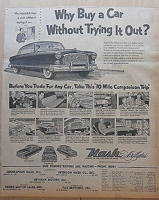 1950 large newspaper ad for Nash - Why Buy Without Trying, 10 mile comparison