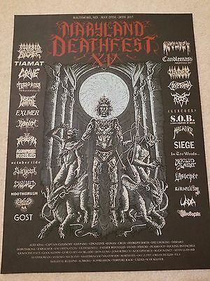 Maryland Deathfest XV (2017) Official silkscreened poster Death Metal Black