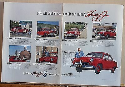 1951 two page magazine ad for Kaiser Frazier - Art Linkletter & his red Henry J