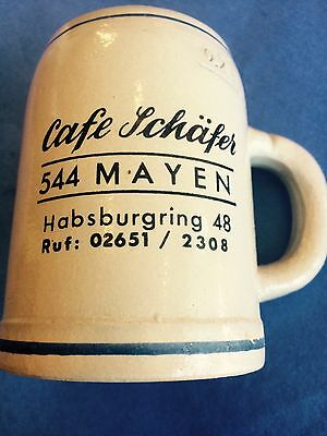 Minty Small WEST GERMANY Cafe Schafer Schultheis Pilsner Pottery Stein Beer Mug