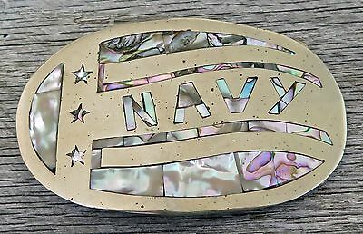 Navy Military Abalone Shell Vintage Belt Buckle