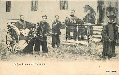 C-1910 Sedan Chair Ricksaw Street Scene postcard 9937