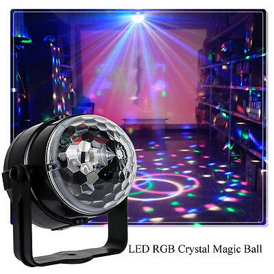 RGB Music Active Crystal ball Rotating LED Stage Club DJ Party Disco Lights UK