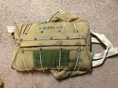ww2 US 1945 Dated B-8 Back parachute, 1944 chute ,harness,  packing booklet