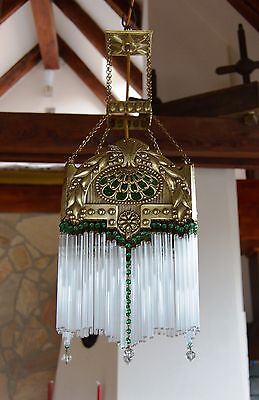VTG Bohemian ART NOUVEAU 1920's Glass Tubes CEILING LIGHT LAMP Fixture