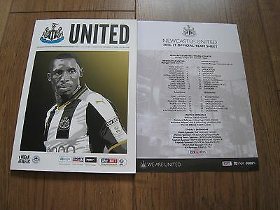 NEWCASTLE UNITED v WIGAN MATCH PROGRAMME & TEAM SHEET 01/04/2017 BRAND NEW