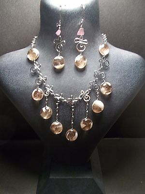 Peruvian Alpaca Silver Necklace and Earring Set~Pink~Murano~Glass~PN32~uk