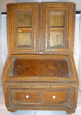 Tramp Art Miniature Bureau Bookcase in generally good condition 37cm High