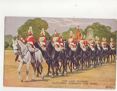 The Life Guards Marching Through The Park WB Wollen 1935 Art Postcard 160b