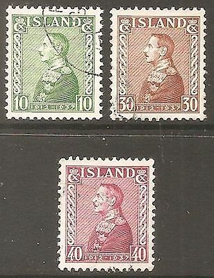 1937 Iceland Silver Jubilee SG 220-222 Used (Cat £40)