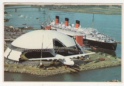 Spruce Goose & Dome adjacent to Queen Mary 1984 USA Postcard B617