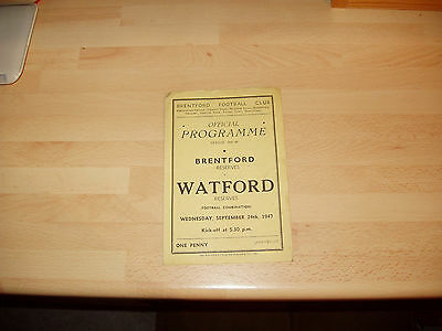 Brentford Res v Watford Res Football Combination 1947/8 - 4 pager