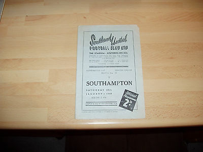 Southend Res v Southampton Res Combination Cup 1948/9 - 4 pager